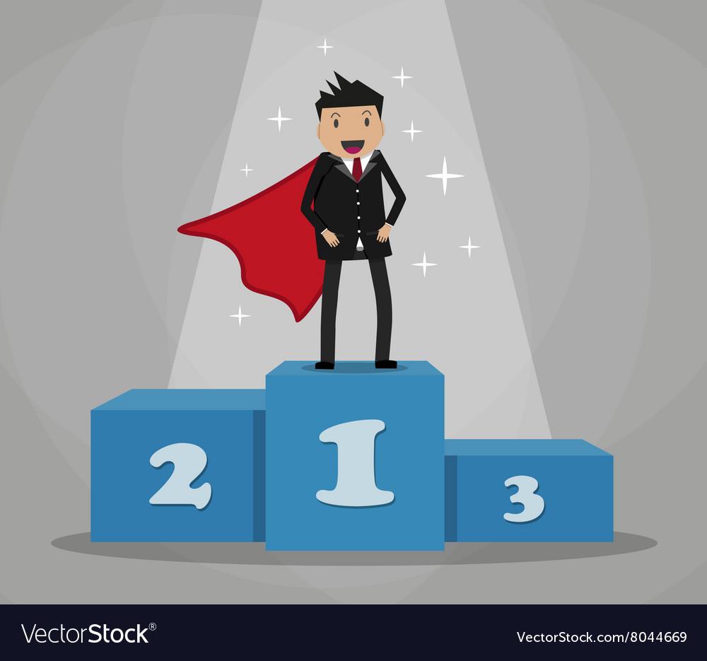 Super businessman standing on podium