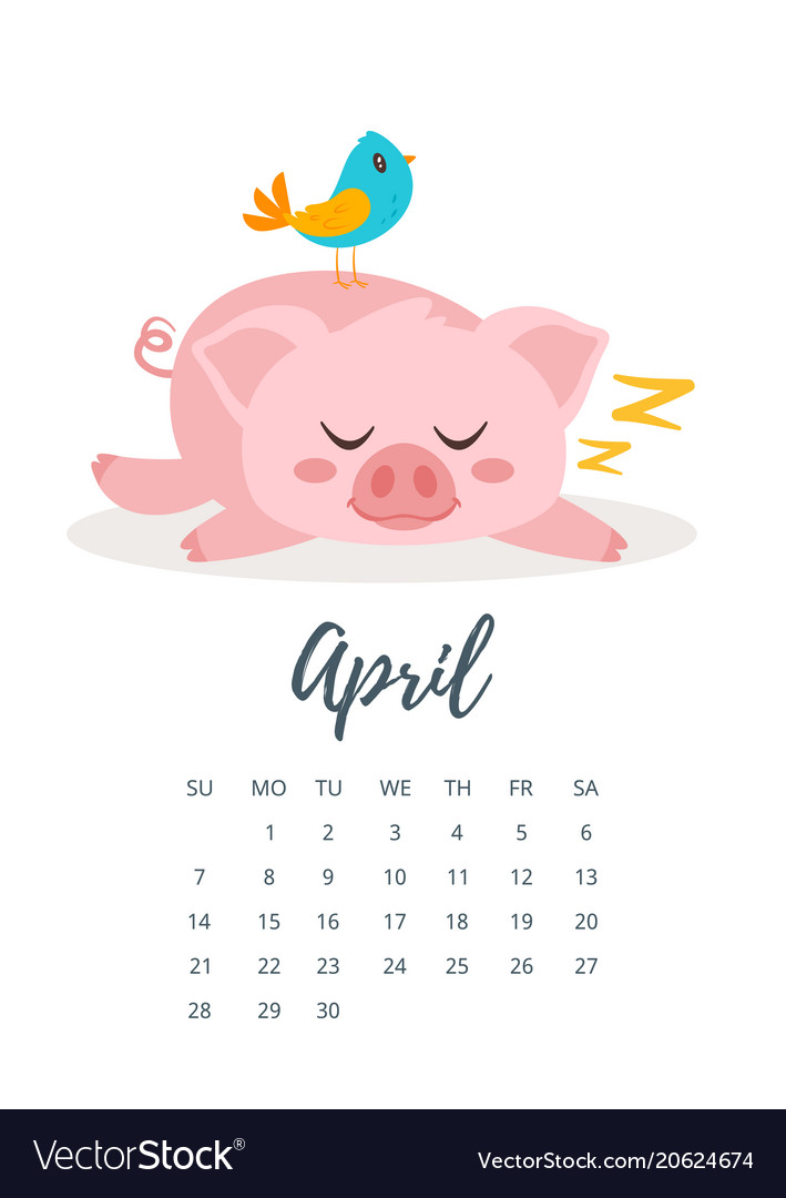 april 2019 year calendar page vector image