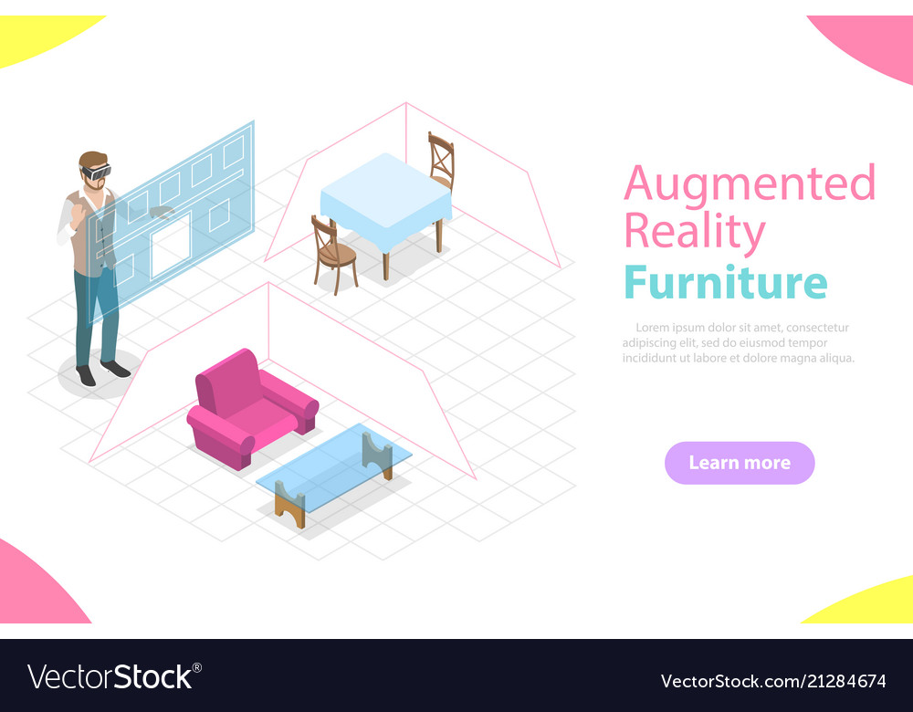 Augmented reality furniture flat isometric