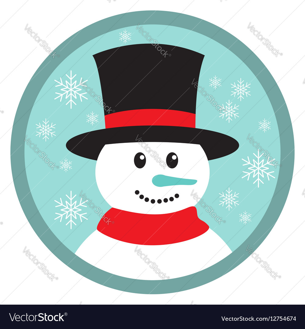 Cute snowman head icon button vector image