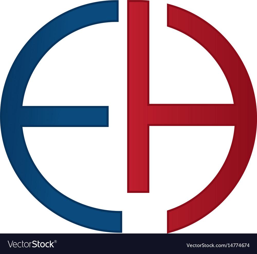 Eh alphabet company letter logo design