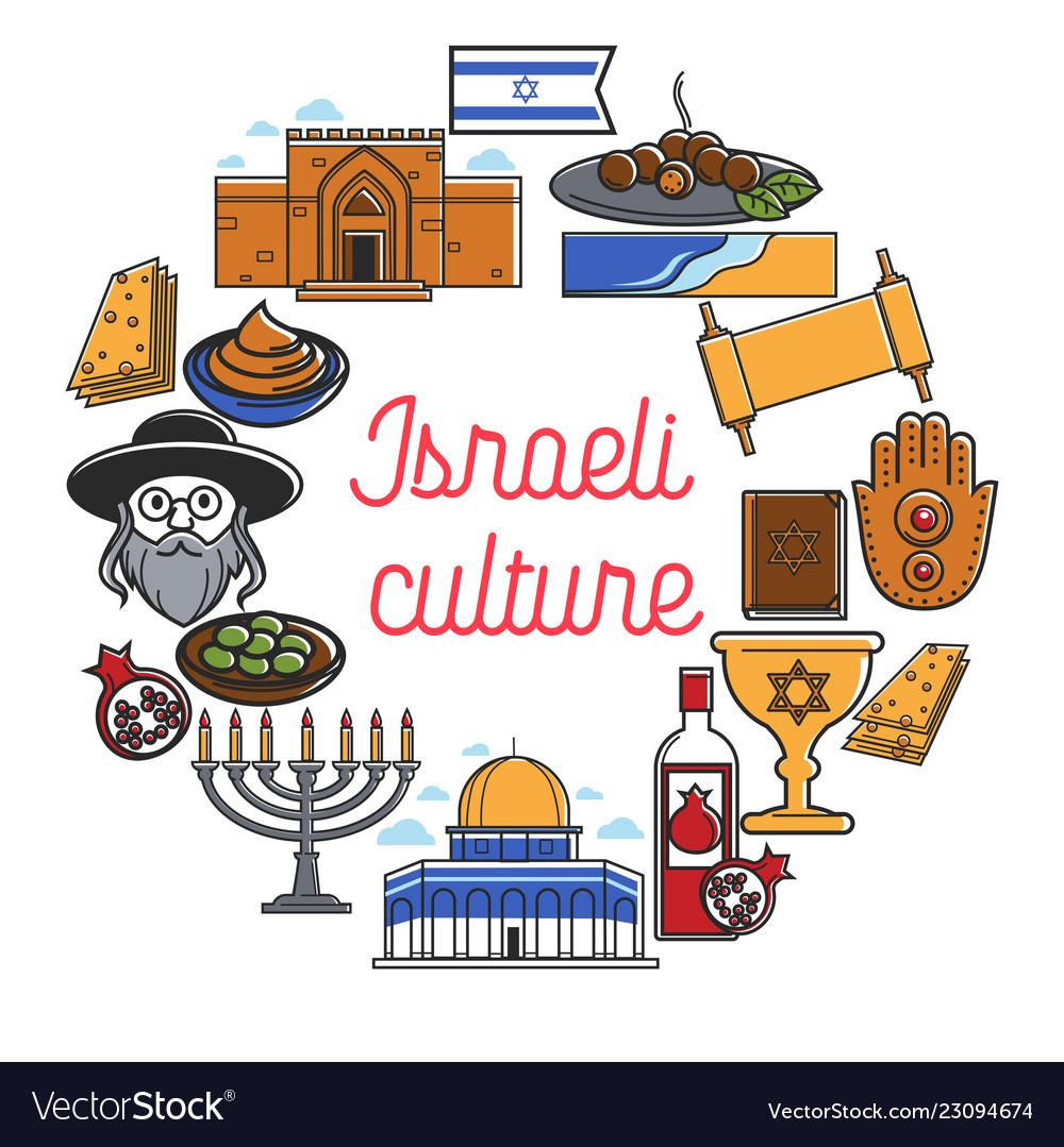 Israel travel landmarks and culture symbols
