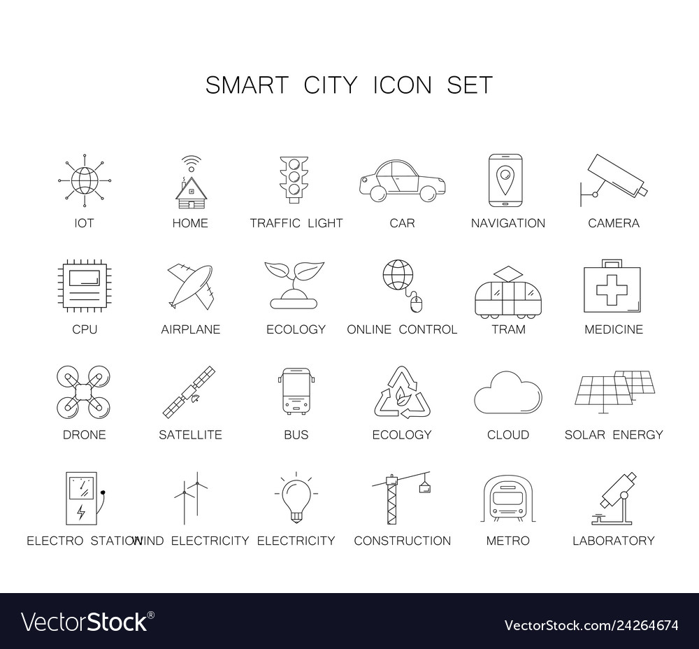 Line icons set smart city pack