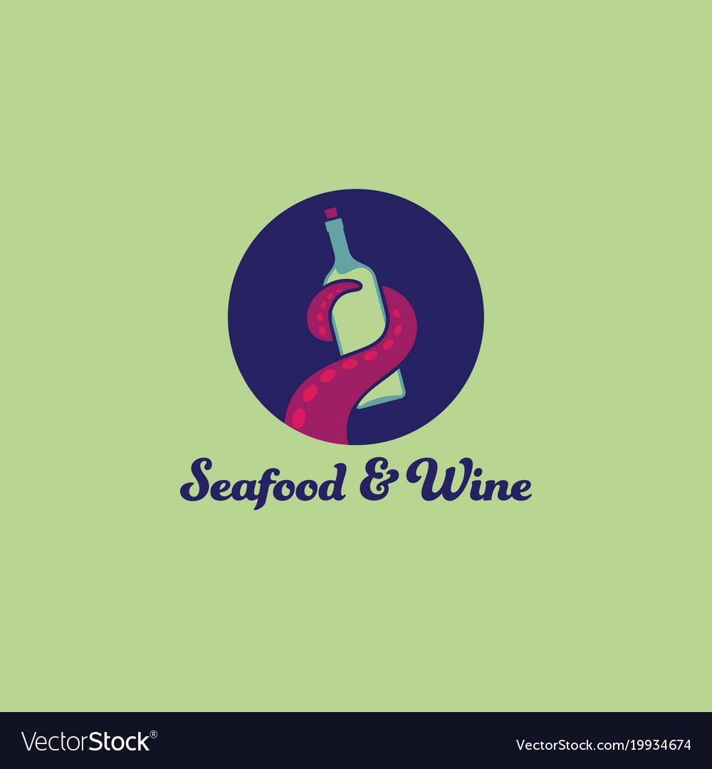 Octopus an wine logo seafood restaurant tentacle vector image