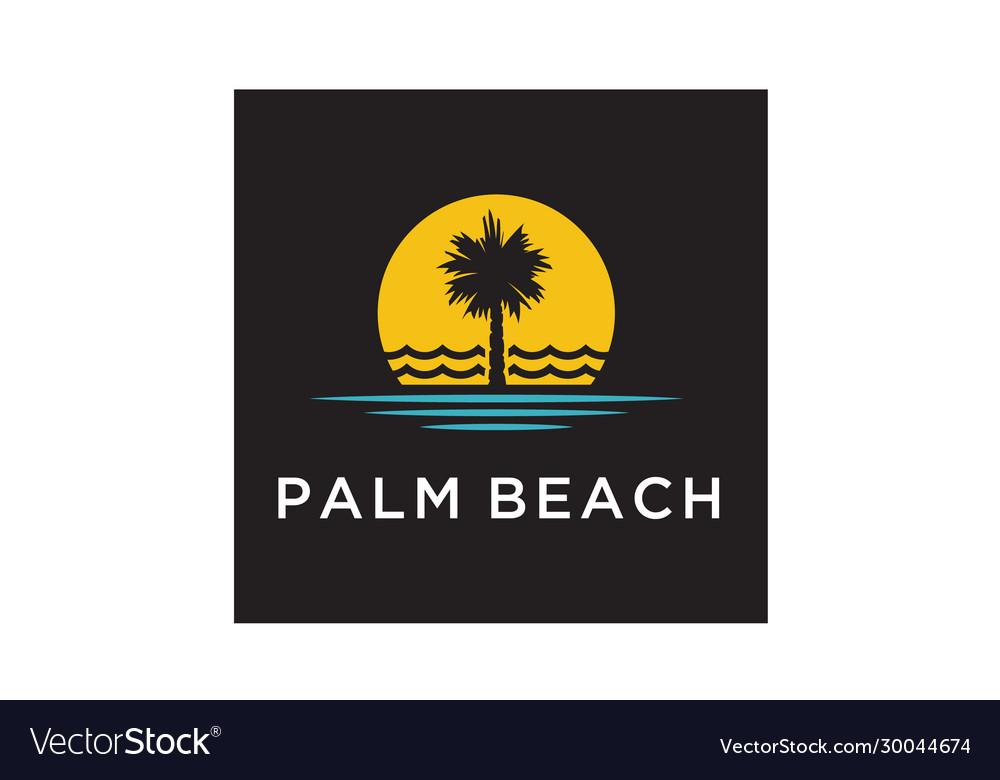 Palm tree beach hotel restaurant vacation logo
