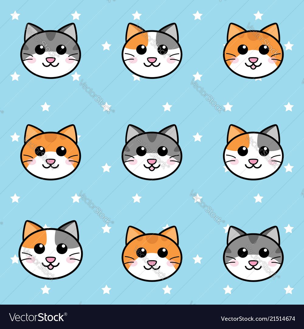 Seamless cats face and stars pattern background