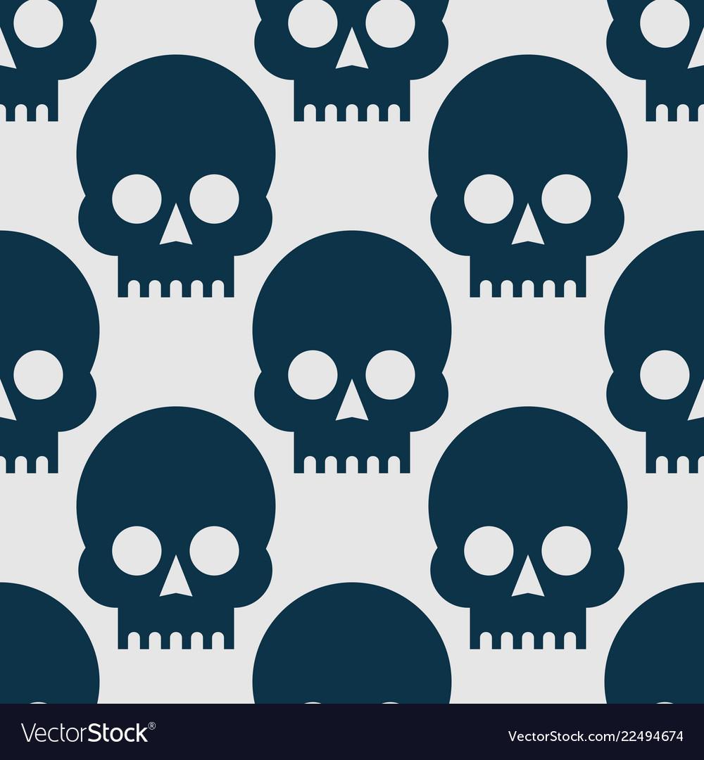 Seamless pattern black skulls on a white