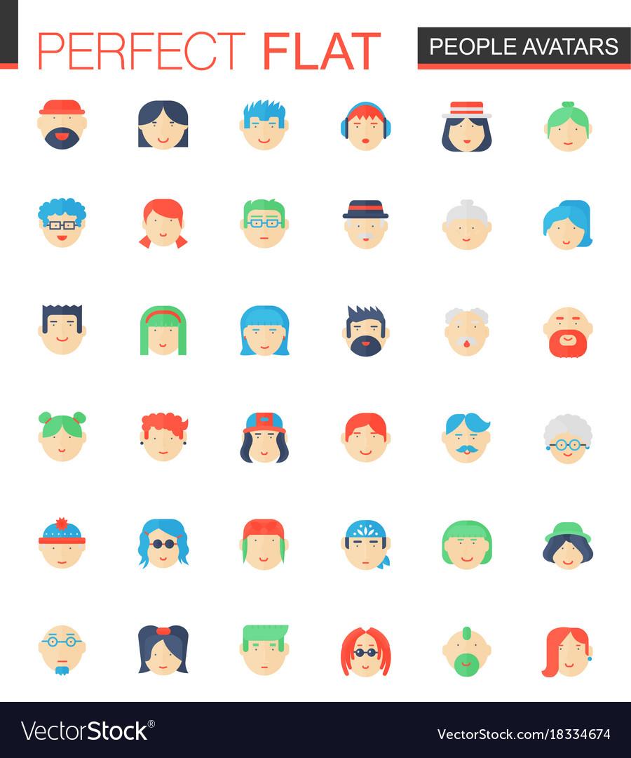 Set of flat people avatars icons