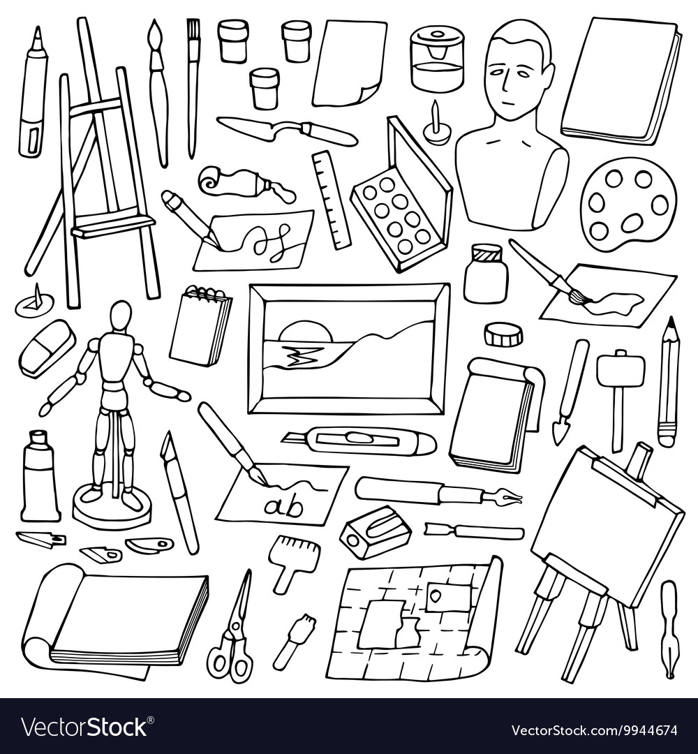 Set with doodle art elements vector image