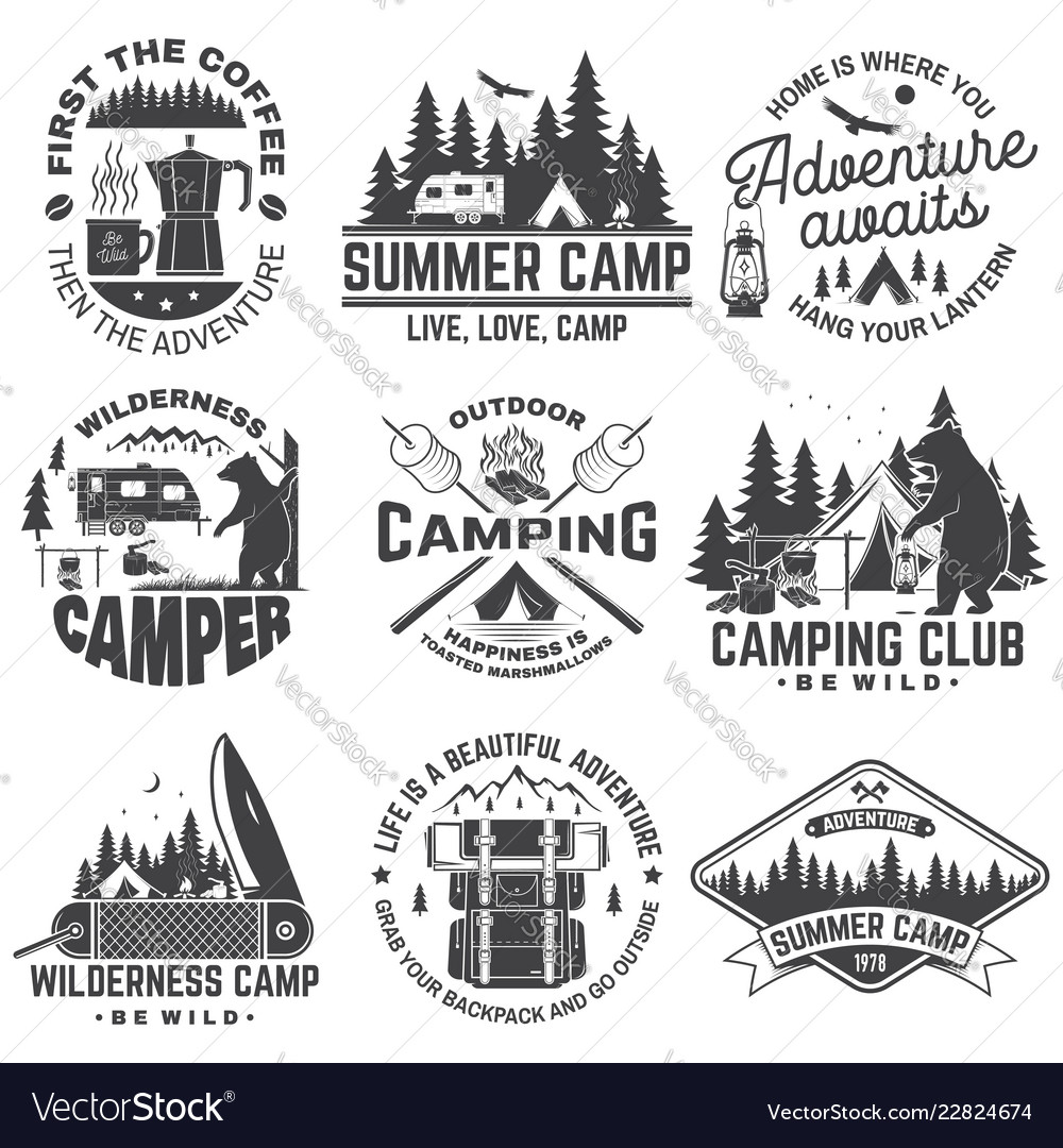 Summer camp concept for shirt or patch