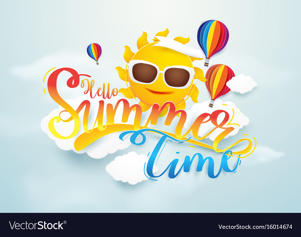 Summer time banner design sun and hot air
