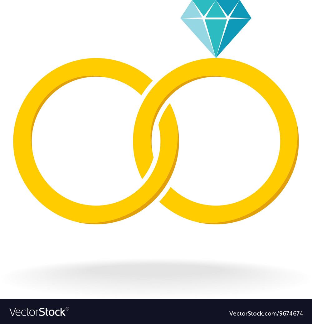 Wedding rings logo two golden crossed rings