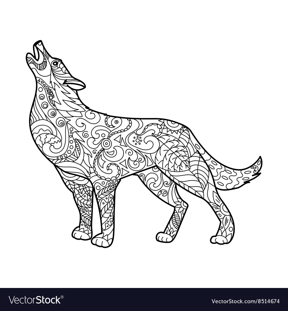 - Wolf Coloring Book For Adults Royalty Free Vector Image
