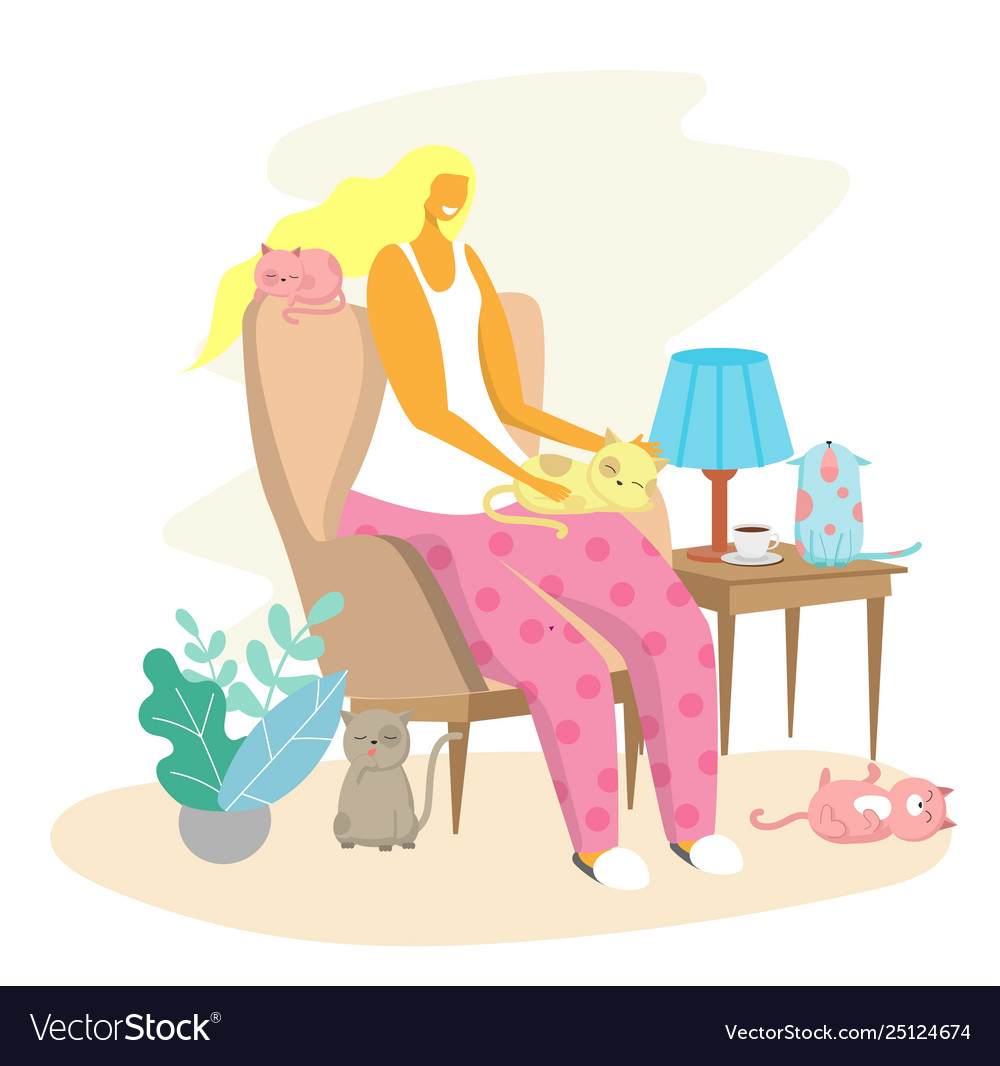 Woman and her cats flat style design