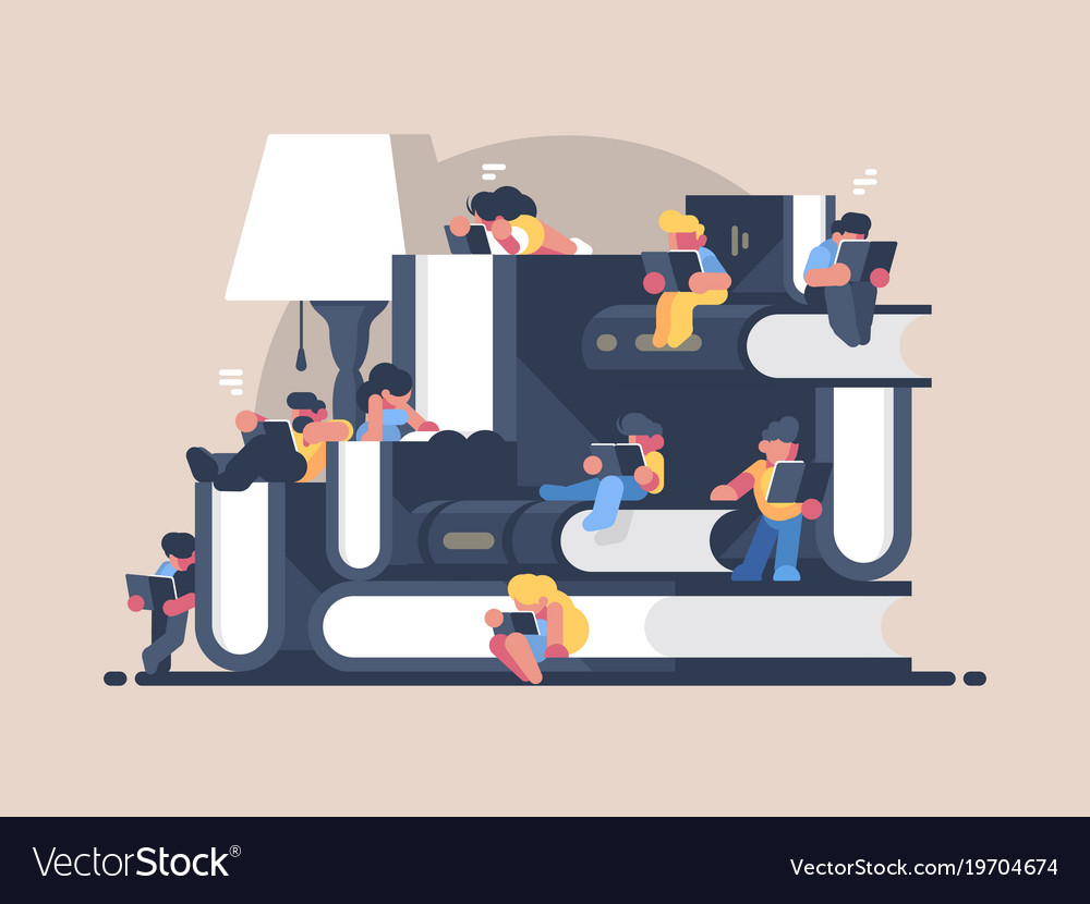 Women and men read books vector image