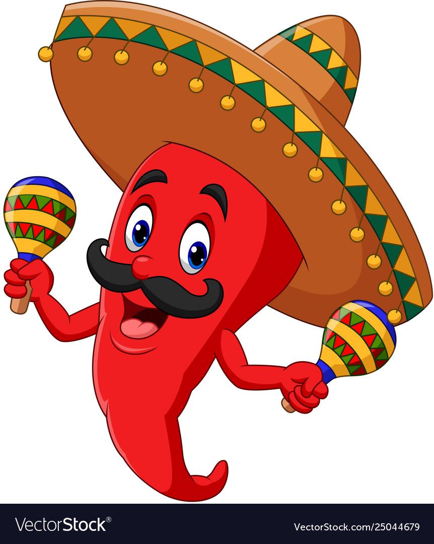 Cartoon Chili Pepper Playing Maracas Royalty Free Vector