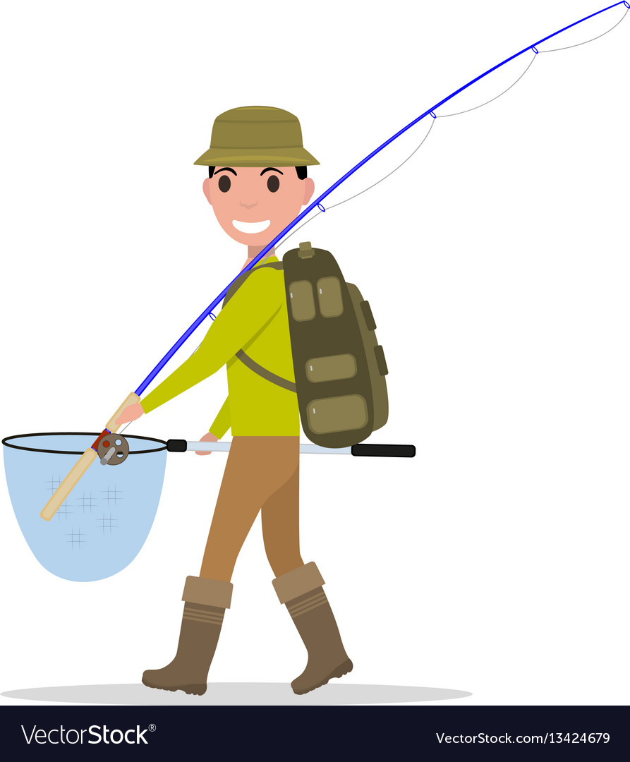 Cartoon man fisherman fishing vacation vector image