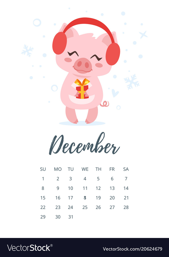 December 2019 Year Calendar Page Royalty Free Vector Image