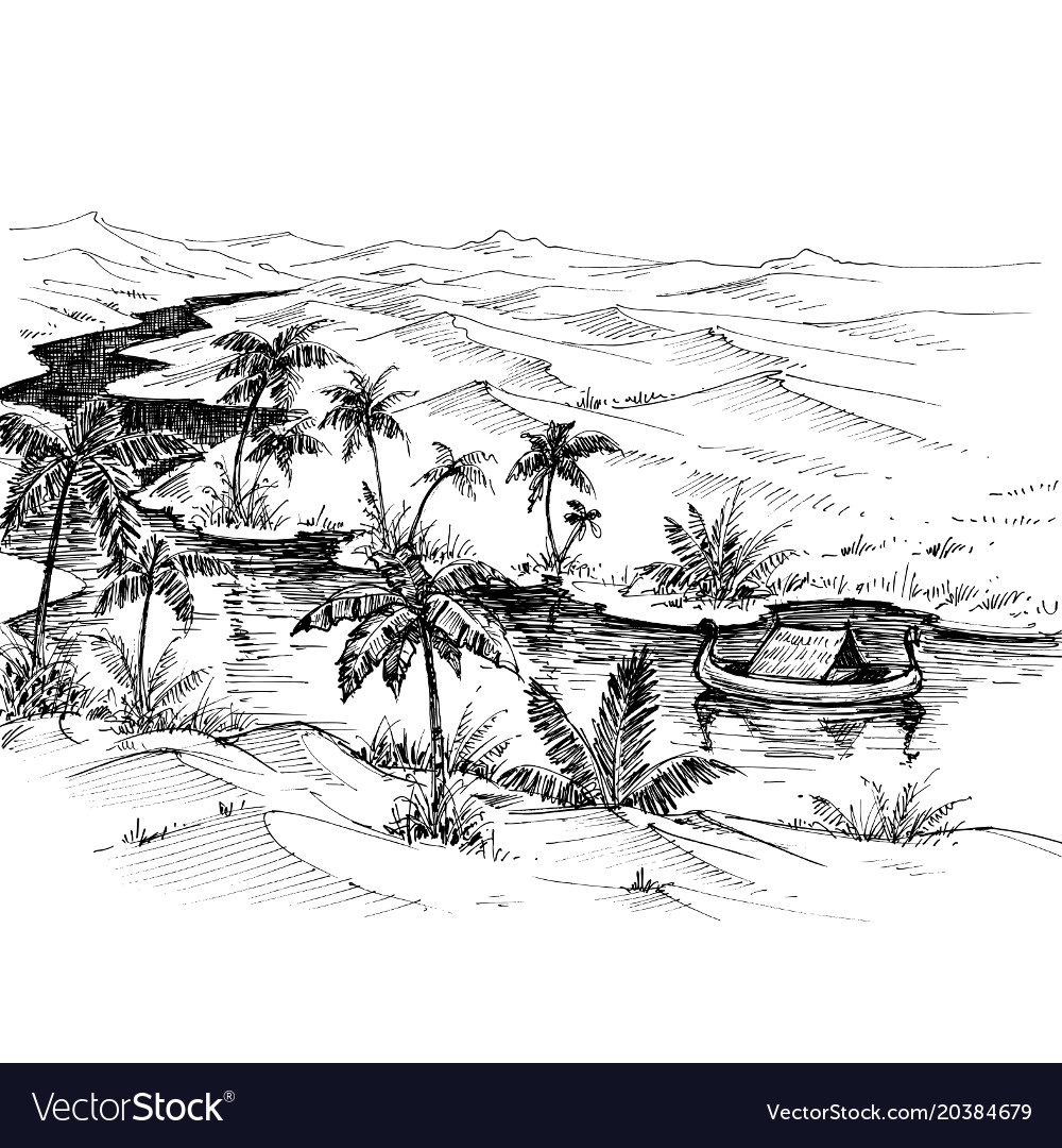 egypt landscape hand drawing boat on nile river vector image vectorstock