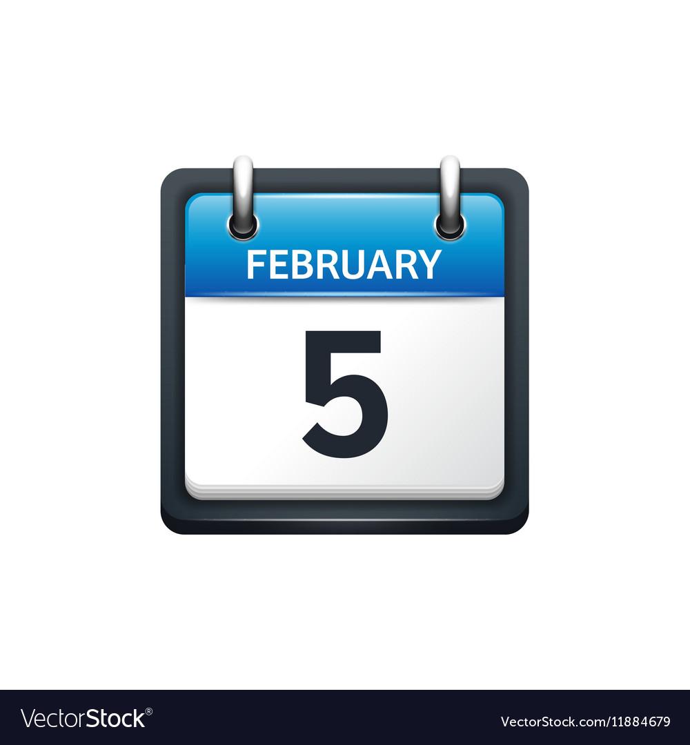 February 5 calendar icon flat