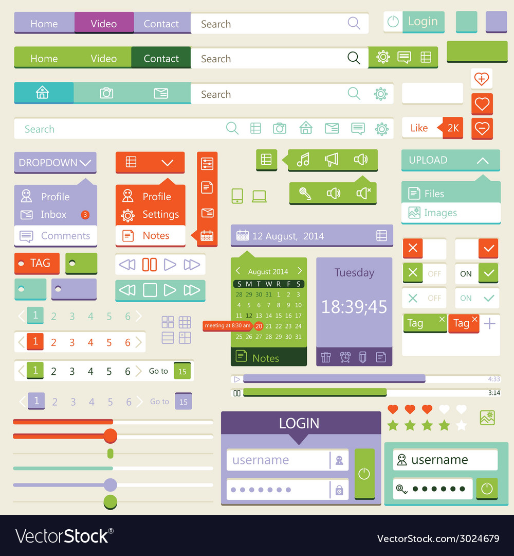 Flat elements design ui set