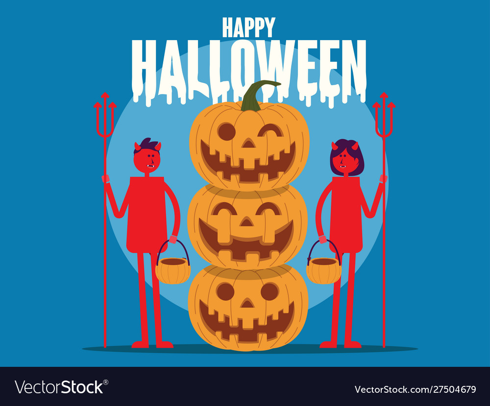 Happy halloween pumpkin with red devil cartoon