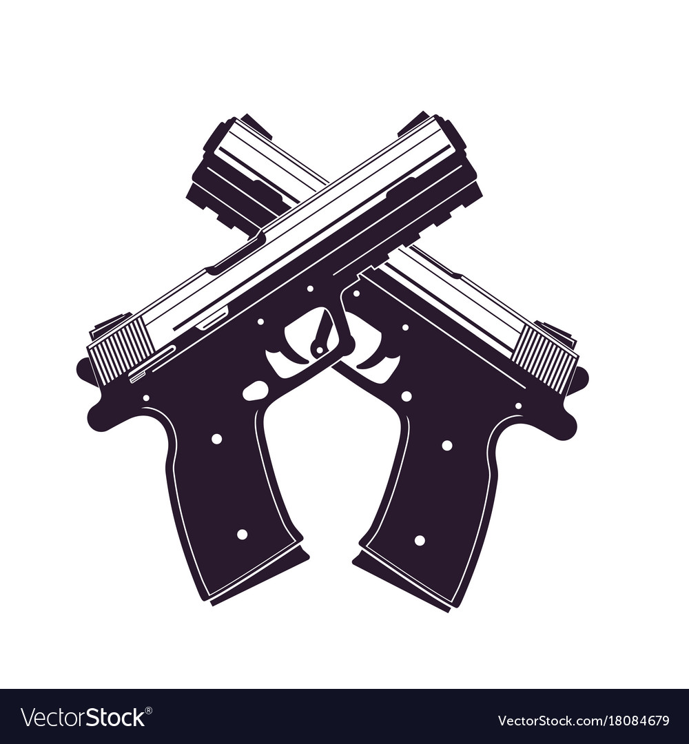 modern pistols two crossed handguns royalty free vector vectorstock
