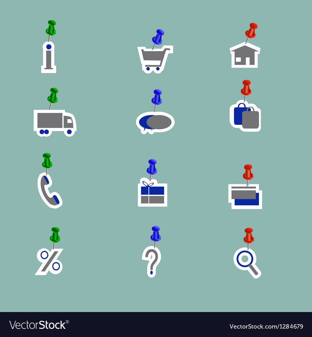 Online shoping icons collage pins vector image