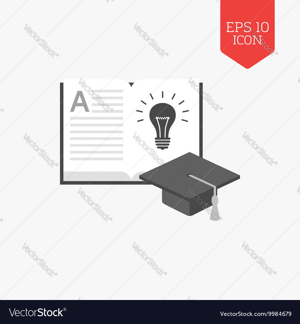 Open book with light bulb and graduation cap icon