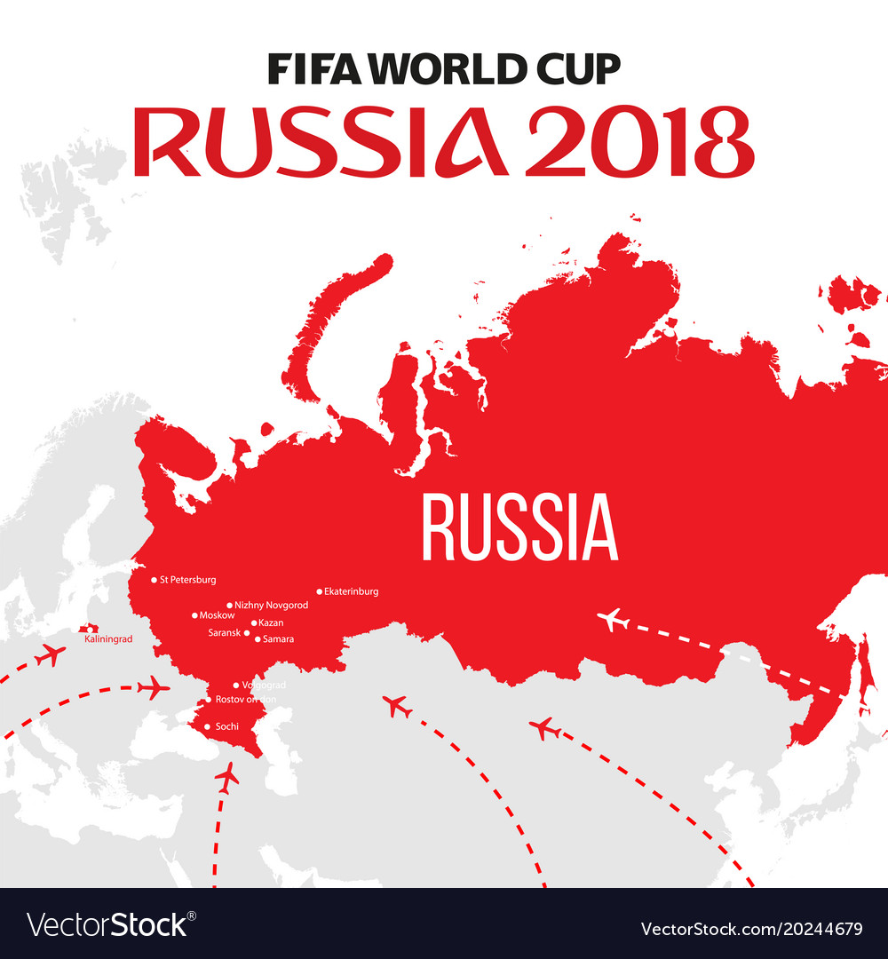 Russia world cup 2018 with map and royalty free vector image russia world cup 2018 with map and vector image gumiabroncs Images