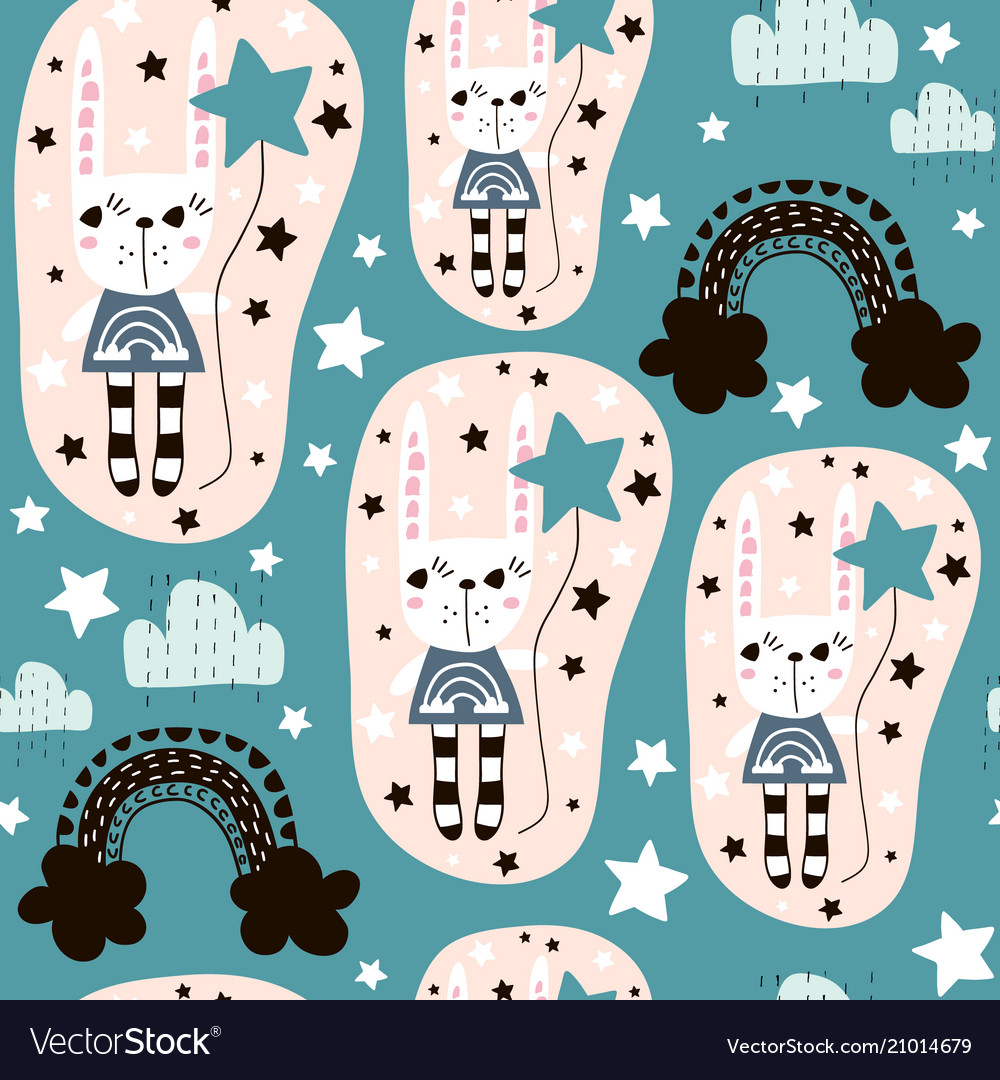 Seamless pattern with cute rabbit girl rainbow
