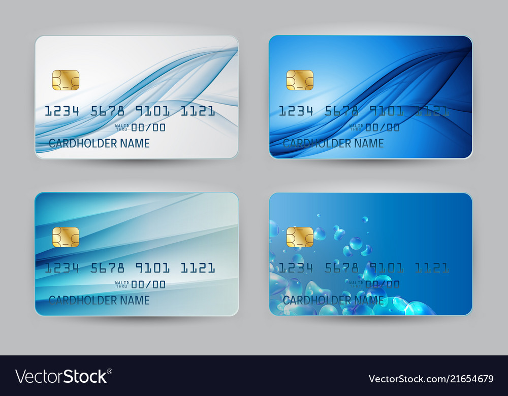 Silver Blue Wave Bank Card Blank Model Template