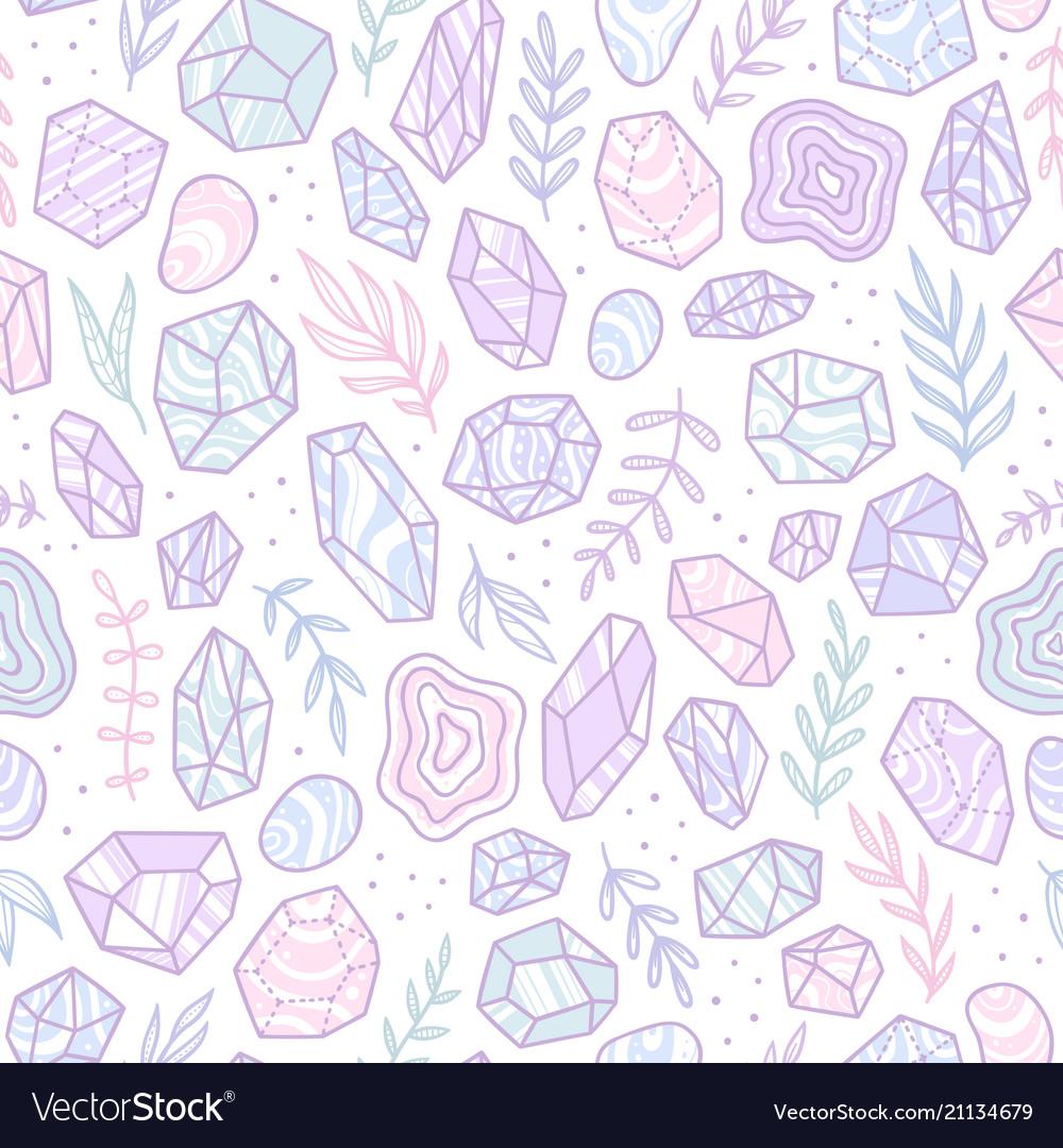 Stylish doodle gem crystals