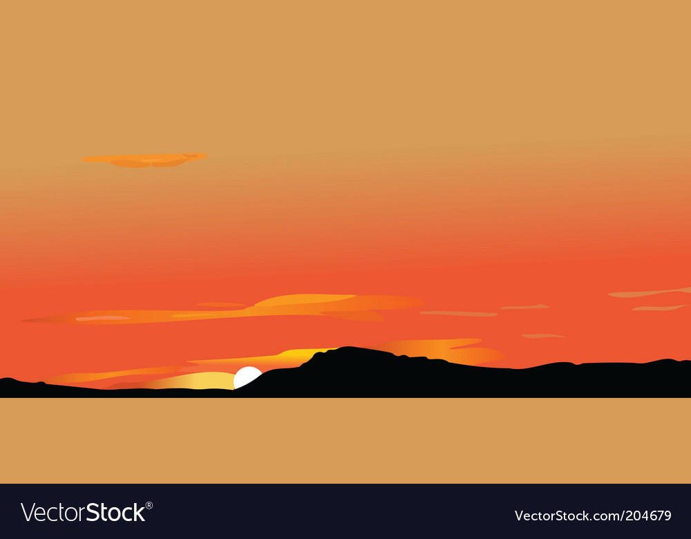 Sunrise in mountains vector image