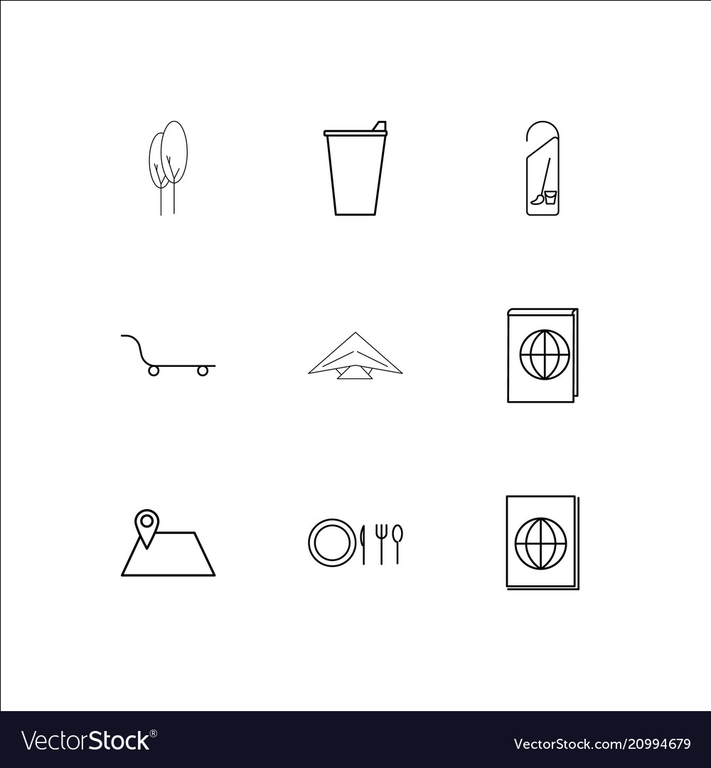 Travel and tourism linear outline icons set