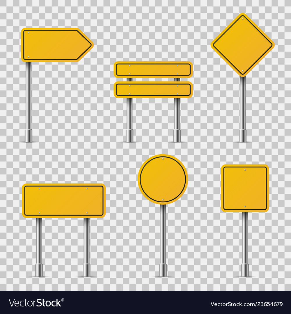 Yellow road signs blank traffic road empty