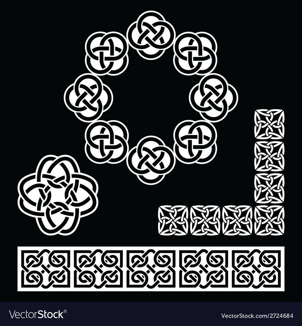 Irish Celtic patterns knots and braids on black