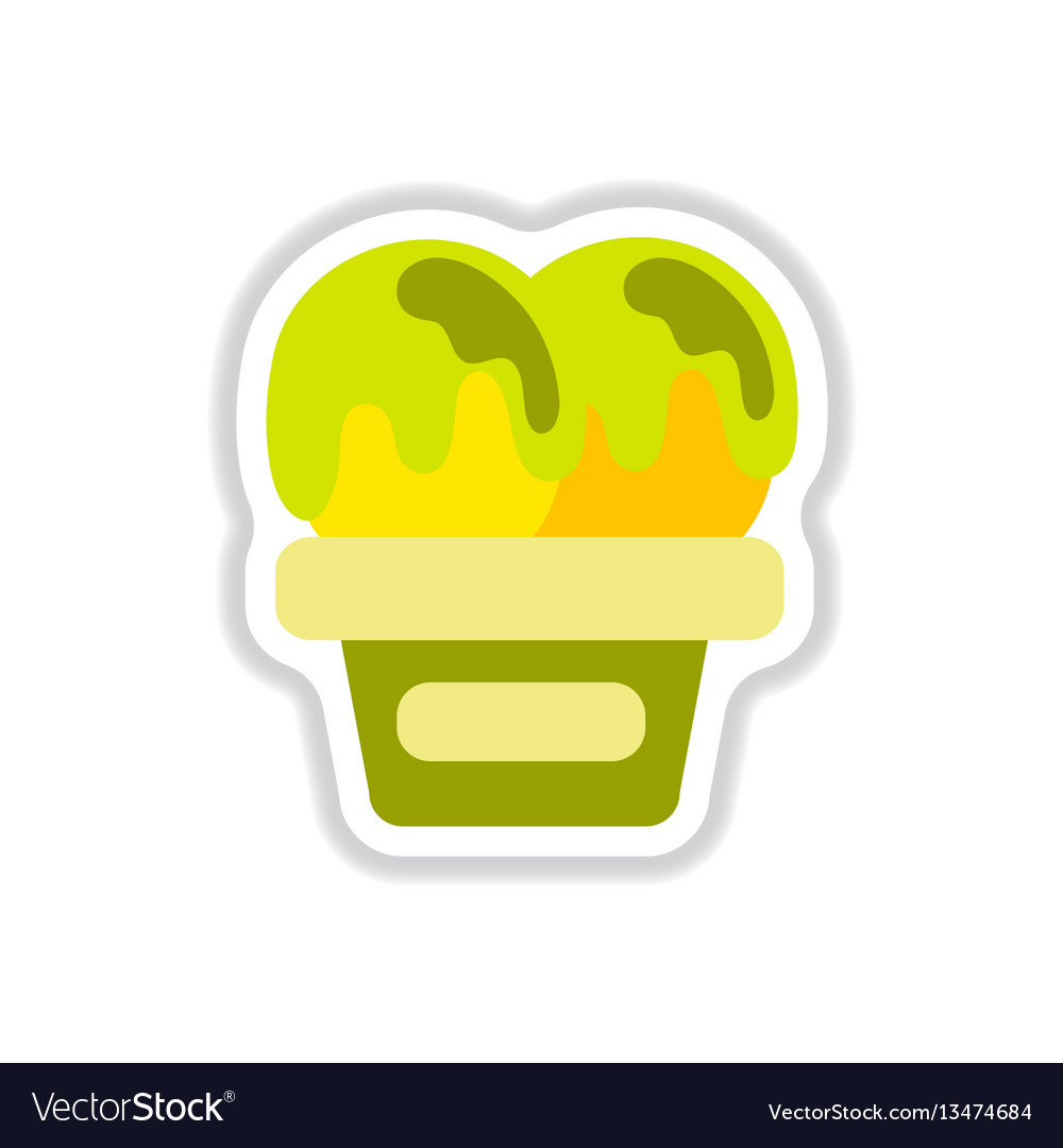 Label icon on design sticker collection ice cream vector image