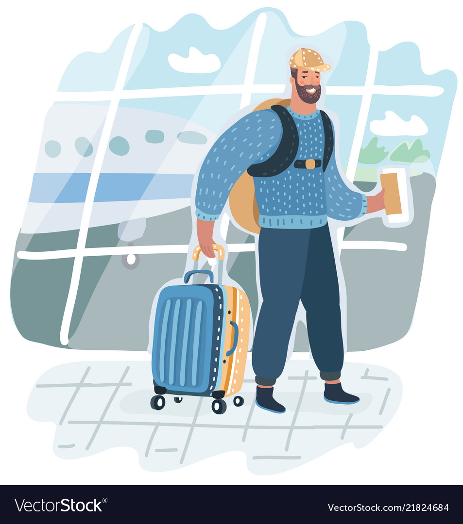 Man with suitcase is going in airport terminal