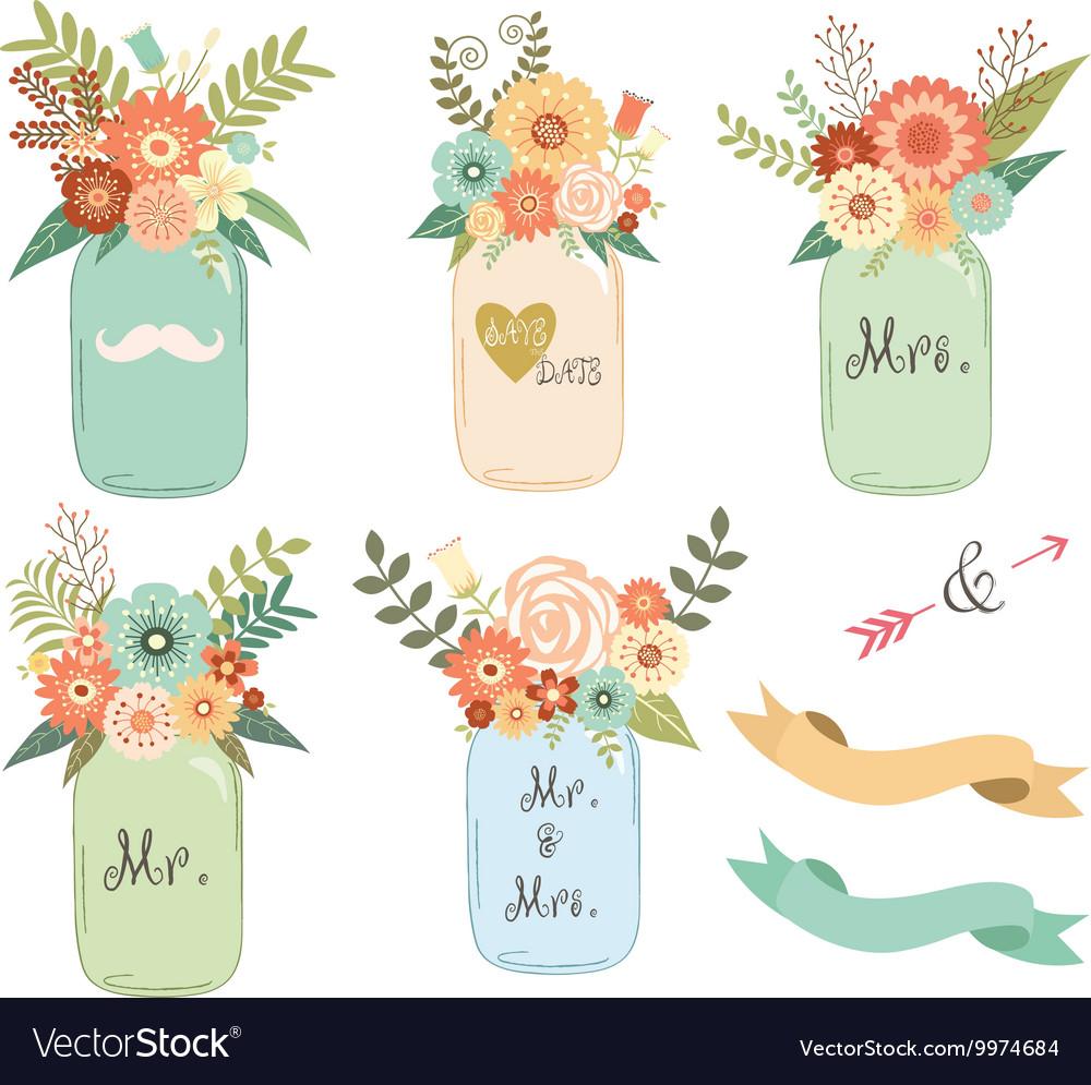 Mason Jar Wedding flower Collections vector image