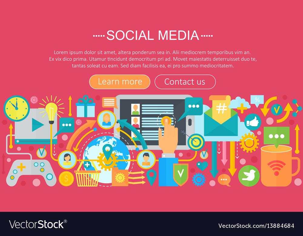 Modern flat design social media concept social