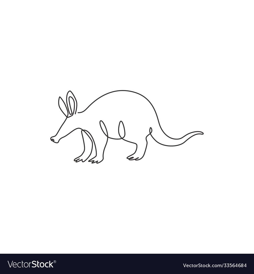 One single line drawing exotic aardvark