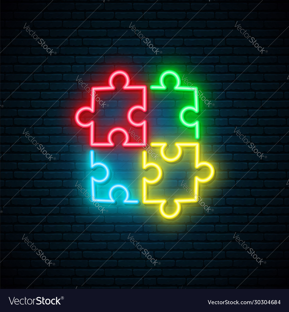 Puzzle neon sign bright autism symbol