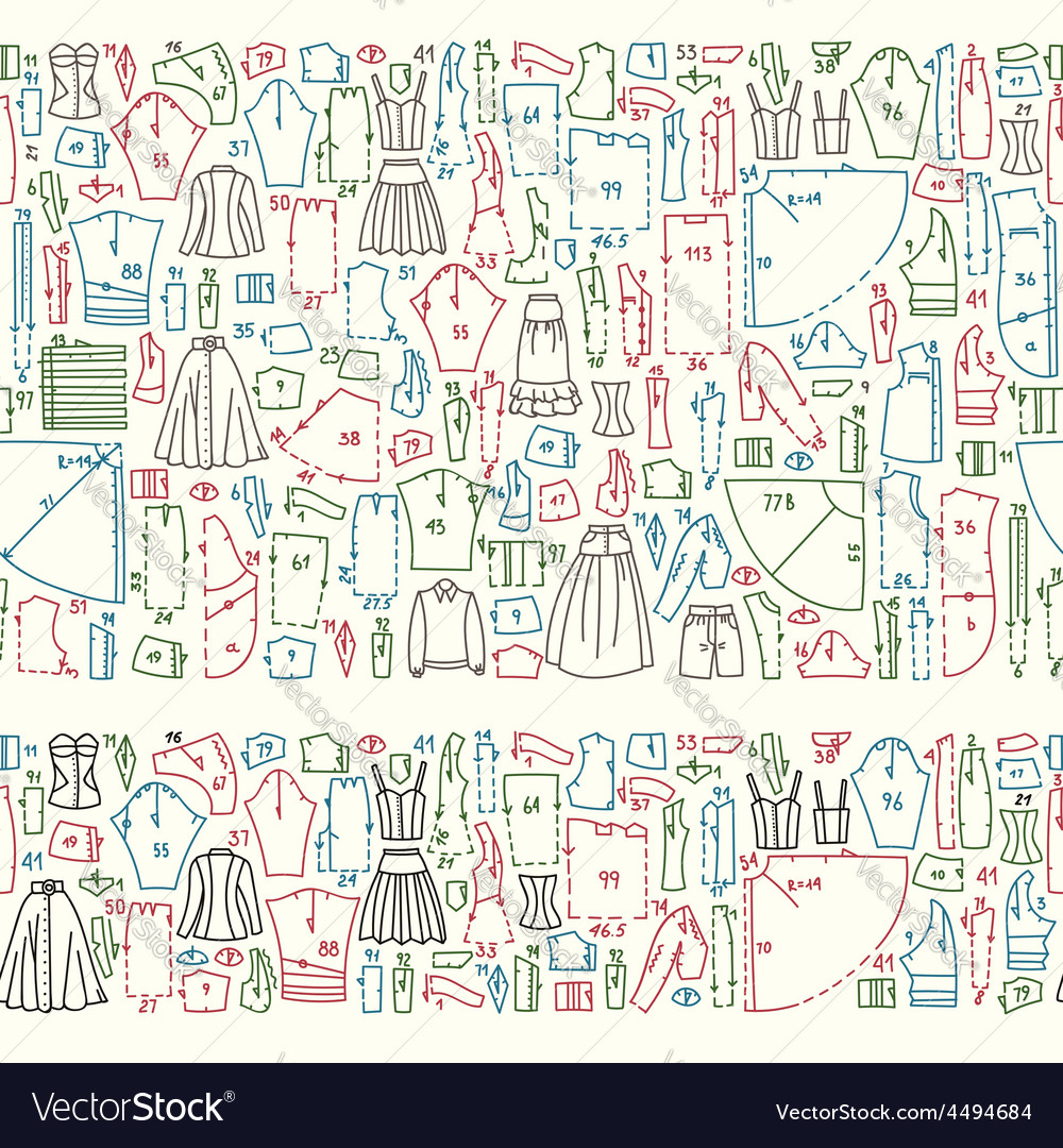 Seamless hand drawn doodle borders with clothes vector image