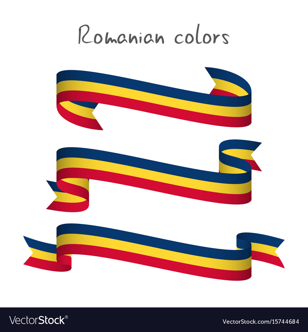 Set of three ribbons with the romanian tricolor
