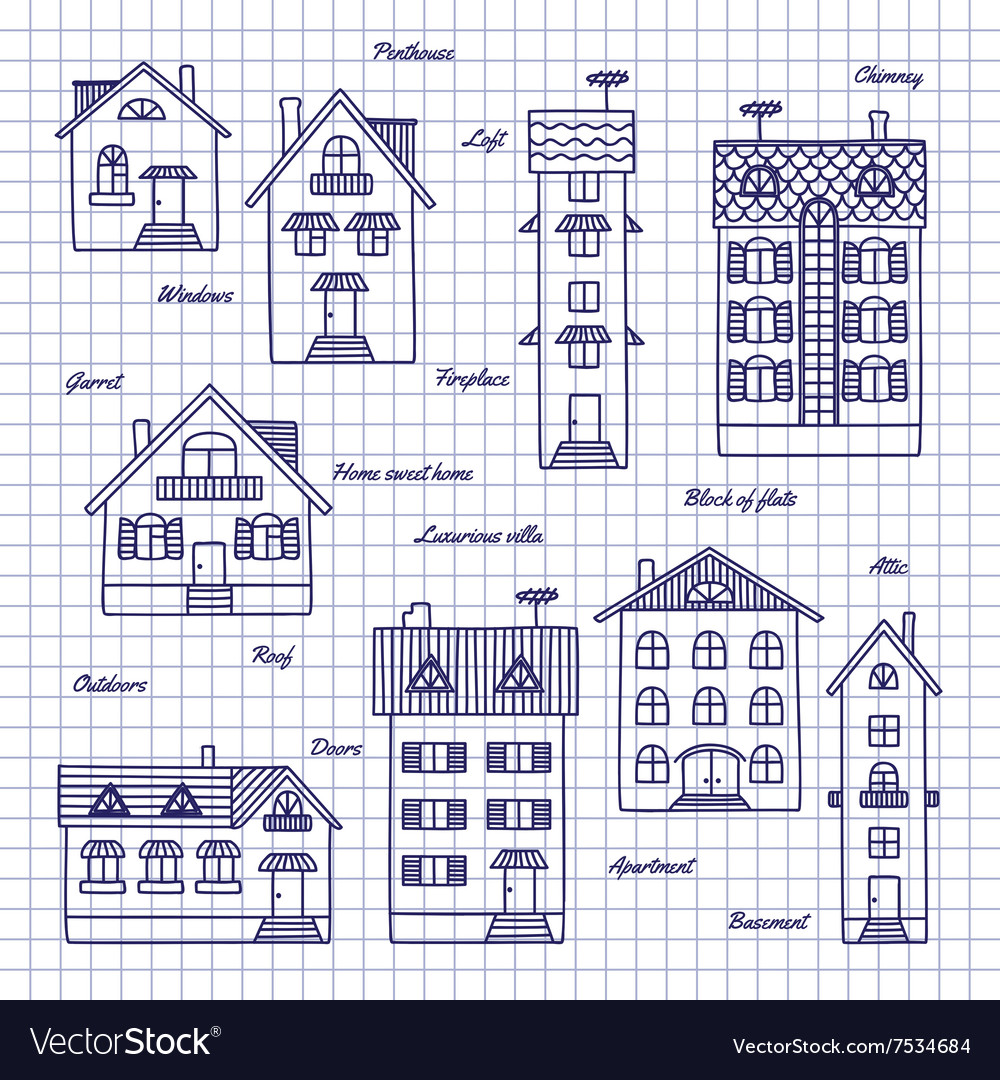 Sketch of houses of different heights