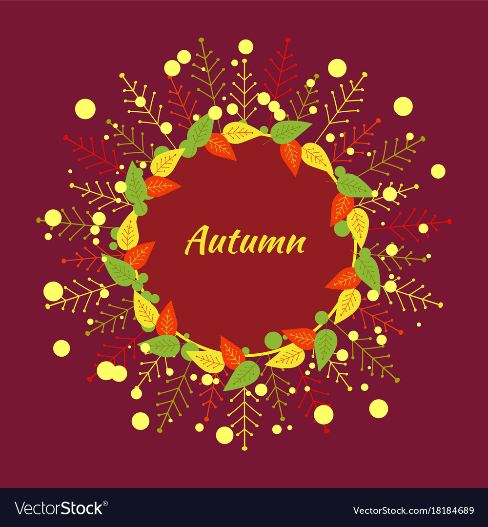 Autumn round frame of red yellow green orange
