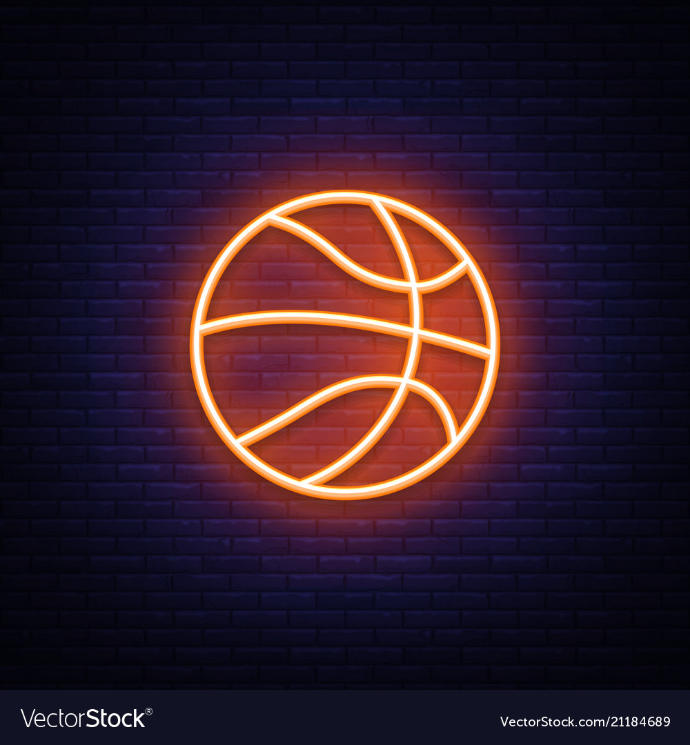 Basketball neon icon design element