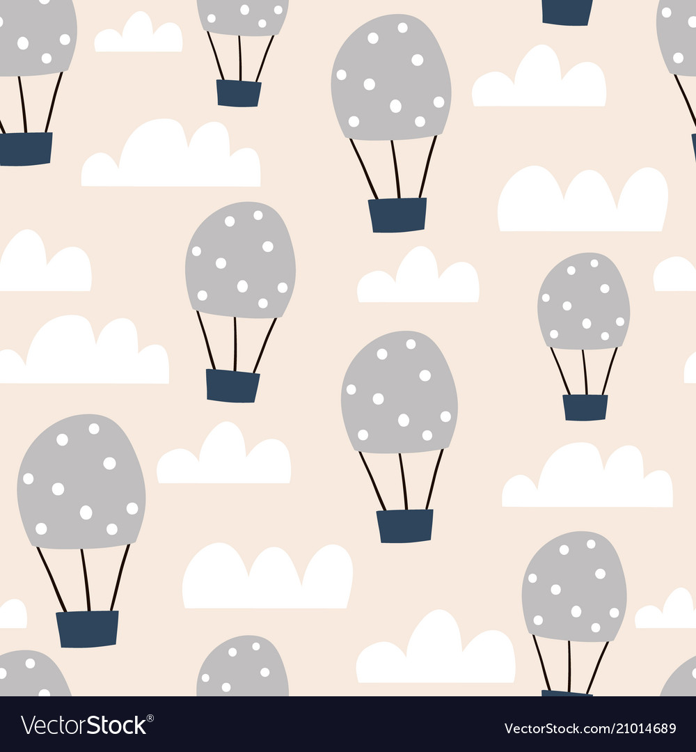 Childish seamless pattern with hot air ballon in