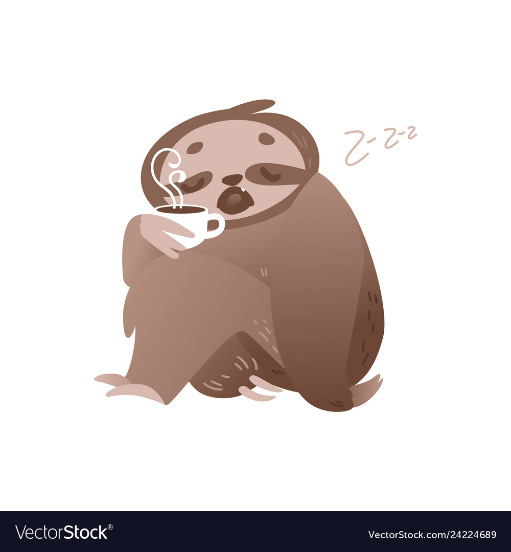 Cute sleepy sloth with cup of hot coffee for